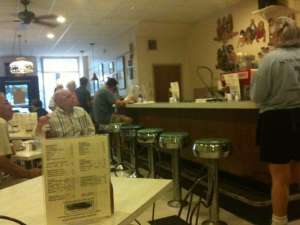 Inside Sneddon's with favorite waitress Terry