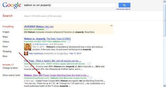 Siri vs Watson Jeopardy Page One SERP